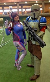Foxi Cosplay as D.Va, Braiden as a Rogue One Trooper.