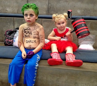 Nathan and Jessica as the Joker and Harley Quinn.