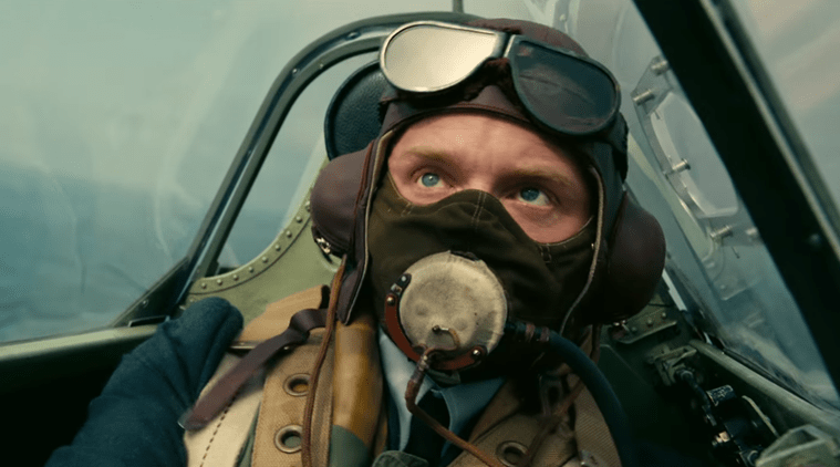 Tom Hardy as the pilot of spitfire plane