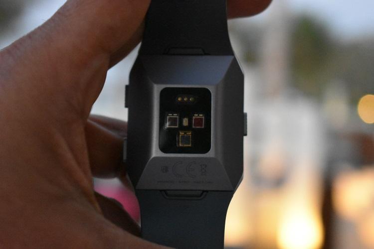 Fibit Ionic smartwatch - backside sensors