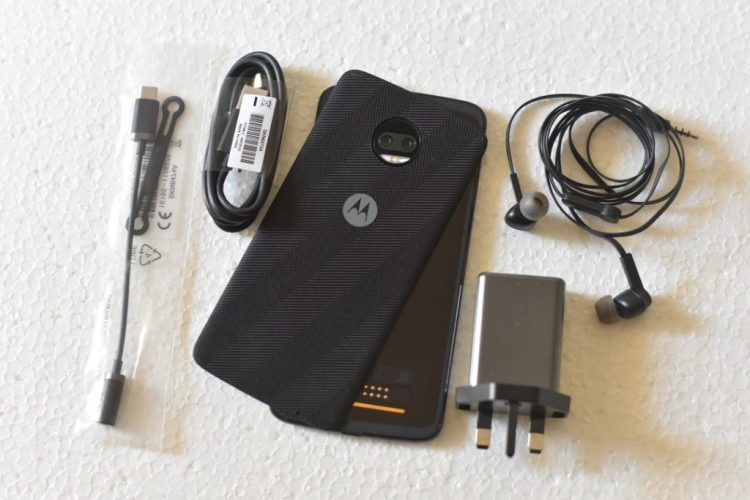 Moto Z2 force with accessories