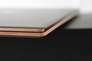 HP Spectre 13 -golden inward edged panels which helps for easy opening the laptop