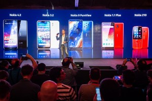 Juho Sarvikas, Chief Product Officer, HMD Global, announces on stage 5 new Nokia handsets, which include the Nokia 9 Pureview, Nokia 4.2, Nokia 3.2, Nokia 1 Plus and the Nokia 210, at the Mobile World Congress in Barcelona. PRESS ASSOCIATION Photo. Picture date: Sunday February 24, 2019. Photo credit should read: Matt Crossick/PA Wire