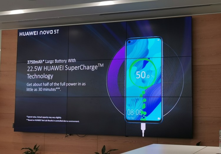 Huawei Nova 5T Smartphone comes with 22W super charge