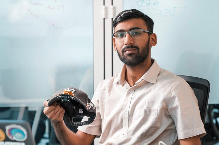 Inventor Sarthak Sethi with VisionCap a solution that enables users to see the world around them through an AI-based virtual eye