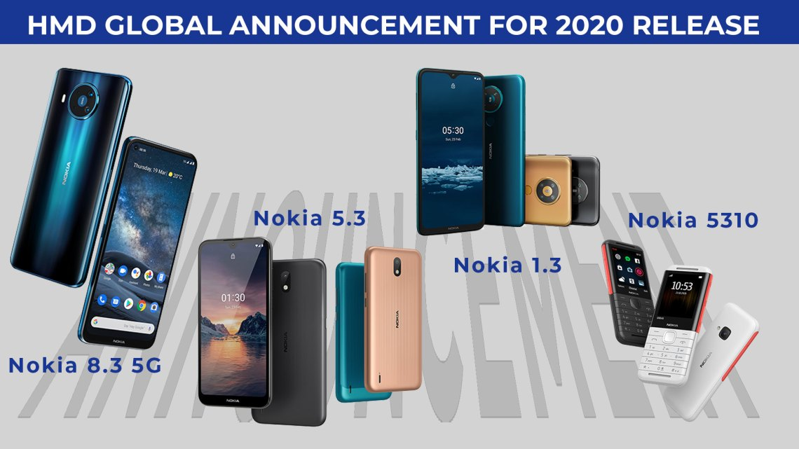"""The HMD Global Announced Nokia 8.3 """"The 1st 5G Global Roaming Smartphone"""", Nokia 5.3, Nokia 1.3, Nokia 5310 phones and HMD Connect Global Roaming SIM Card with App."""