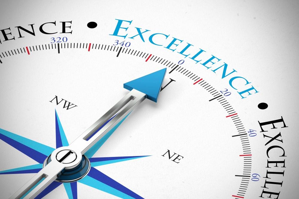 Achieve Business Excellence als Konzept auf einem Kompass