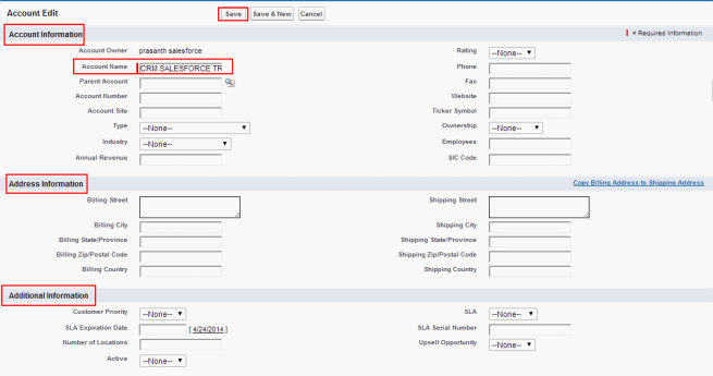 creating new account in salesforce