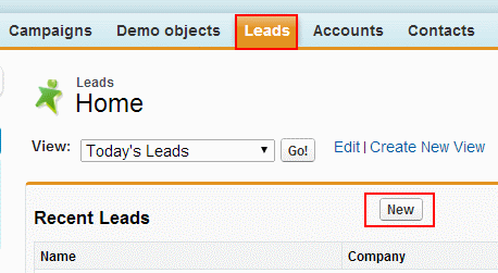 create New Lead in salesforce