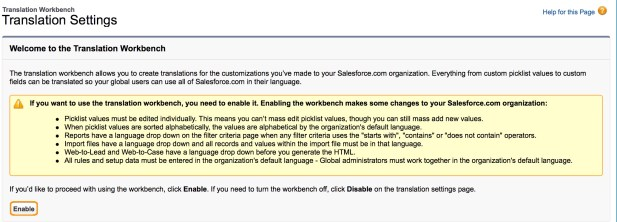 Salesforce Translation Workbench