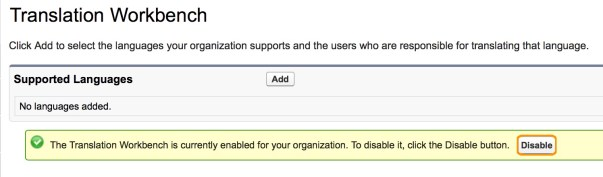disable Salesforce Translation Workbench