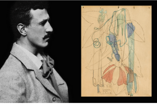 an image with a black and white side profile portrait of Mackintosh on the left hand side and a photograph of a botanical drawing on the right hand side