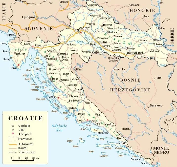 Cartes de Croatie et géographie