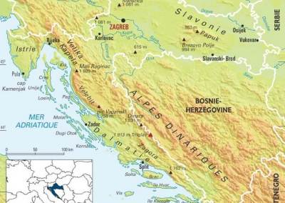 carte des montagnes de croatie