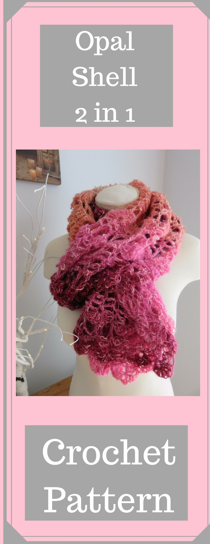 Opal Shell 2 in 1 Crochet Wrap and Scarf from Crochet247