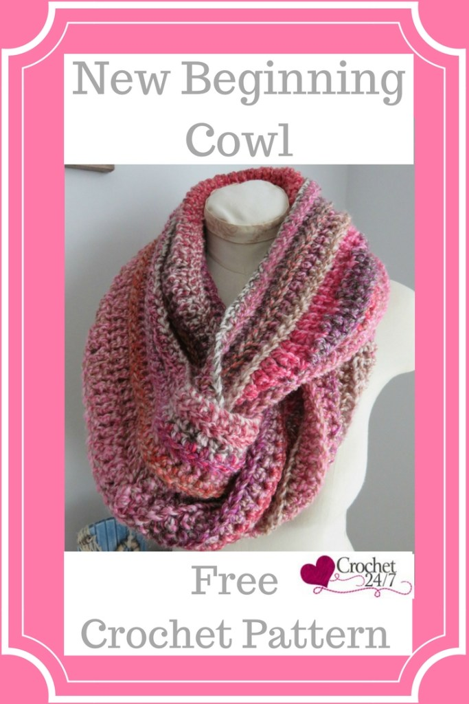 A crochet image of New Beginning Infinity Cowl from Crochet 24/7