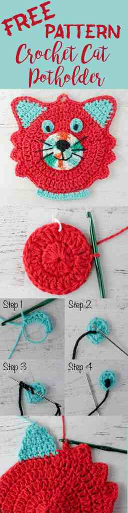 Crochet cat potholder pattern