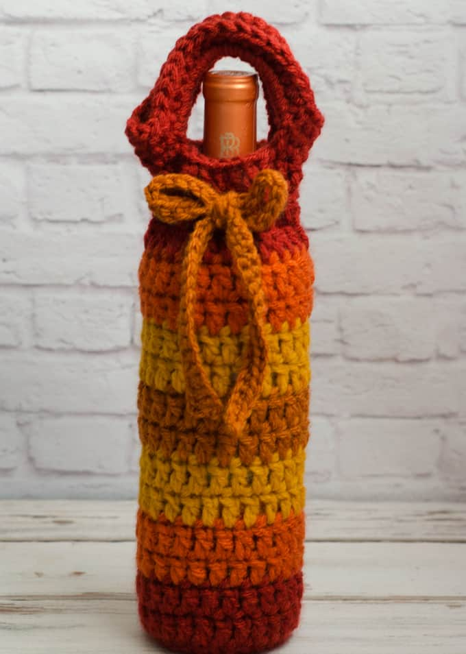 Fall crochet wine cozy