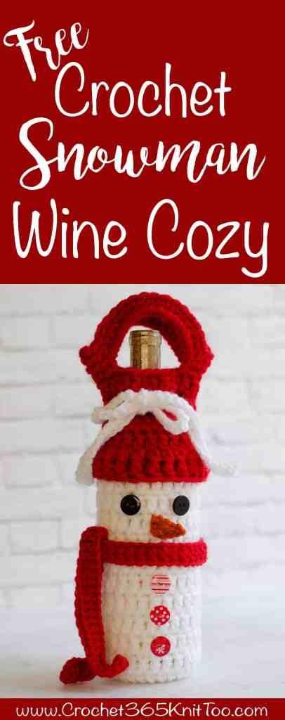 Crochet Snowman Wine Cozy Pattern