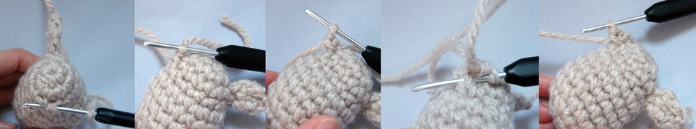 Step by step Photo Tutorial How to Make a left ear of Crochet Reindeer Christmas Ornament