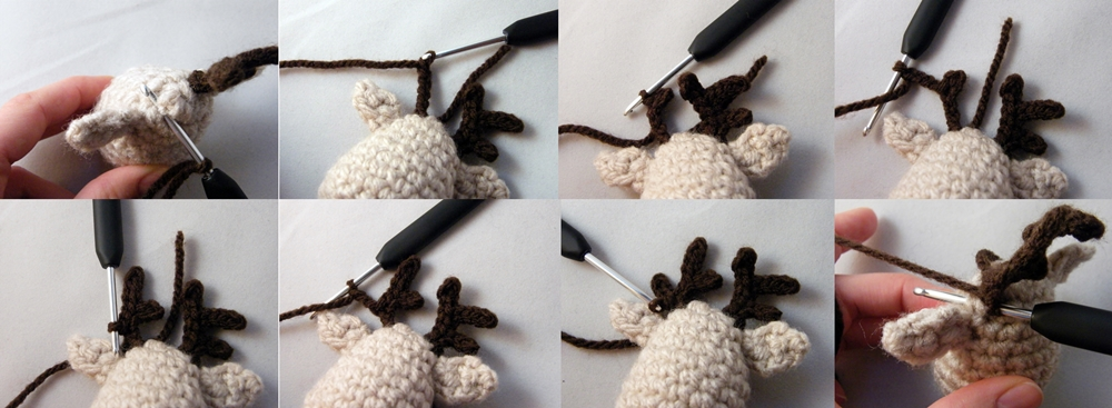 Step by step Photo Tutorial How to Make a left horn of Crochet Reindeer Christmas Ornament