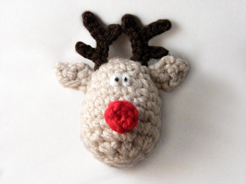 Finished Crochet Reindeer Christmas Ornament Free Crochet Pattern