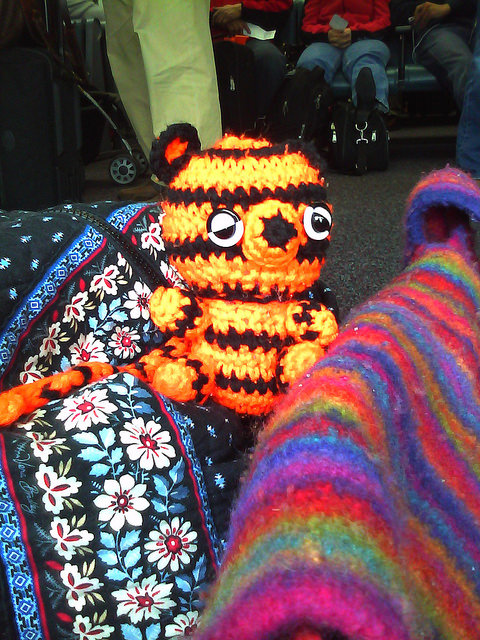 A crochet tiger at O'Hare Airport