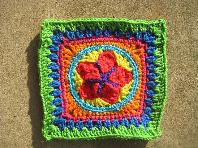 crochet granny square with a center crochet star