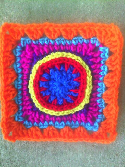 bright crochet granny square
