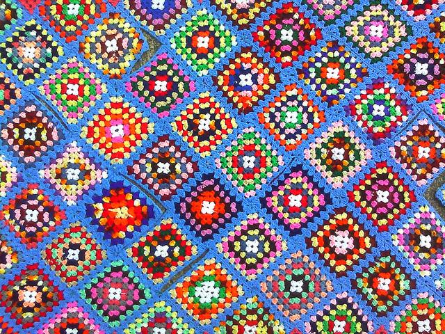 scrap granny square afghan