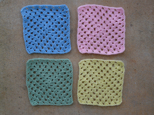 four crochet granny squares