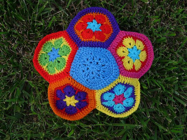 A future crochet soccer ball made of crochet hexagons and crochet pentagons