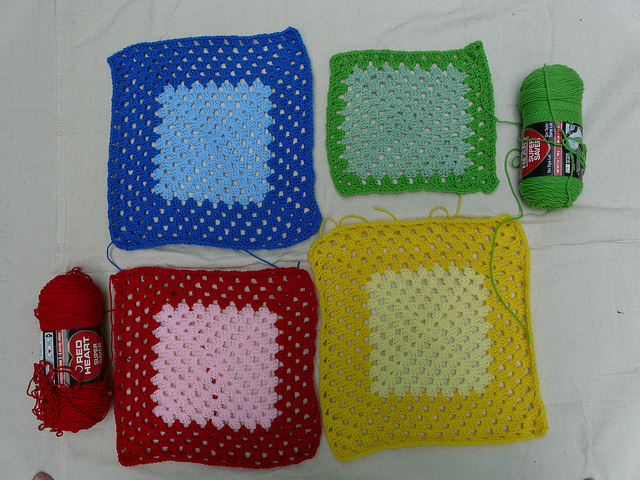View from the perspective of the red crochet squares