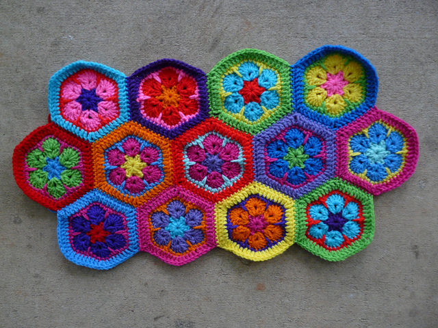 thirteen crochet hexagons