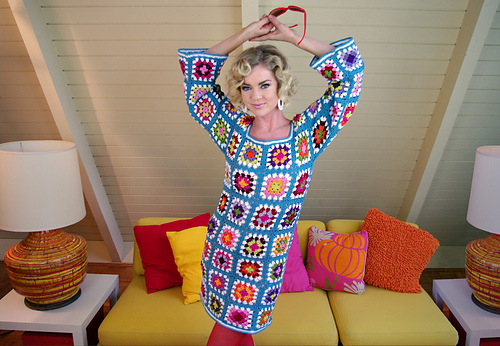 granny square dress, crochetbug, crochet dress, crochet squares,