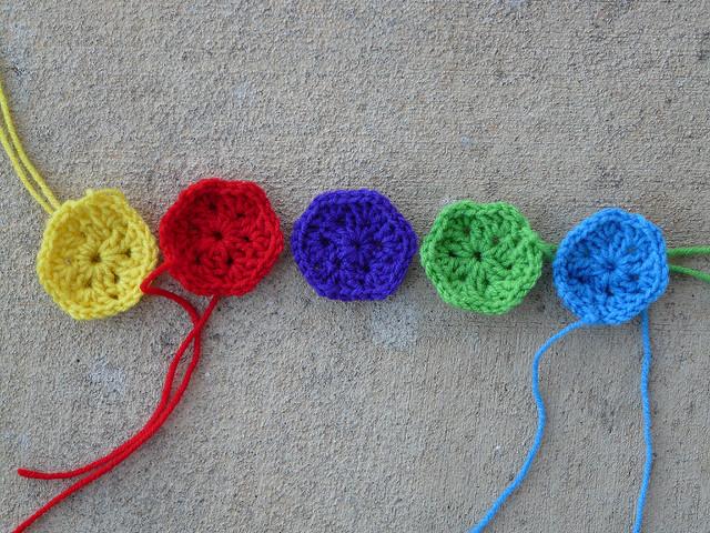 Five crochet hexagons crochet soccer ball