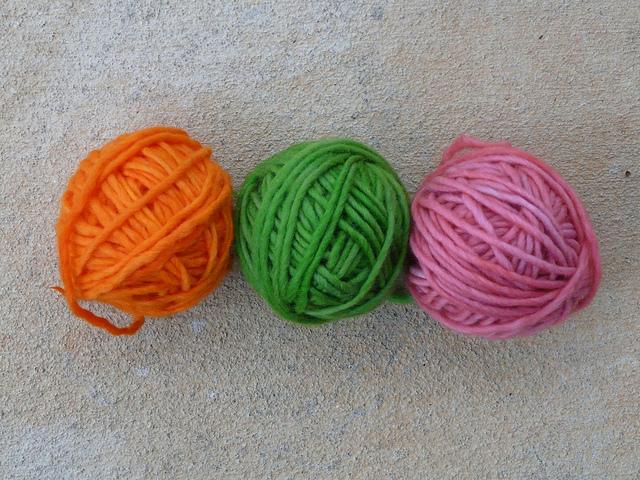 yarn wound into balls