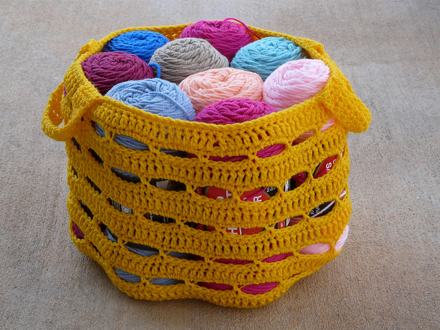 crochet stash basket filled with yarn