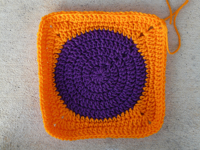 crochet square with a crochet circle center