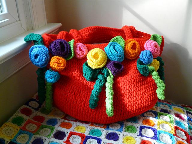 crochet rose tote