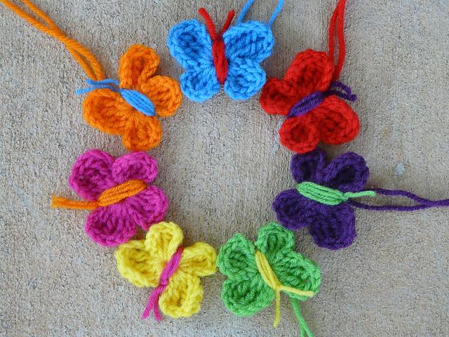 seven crochet butterflies