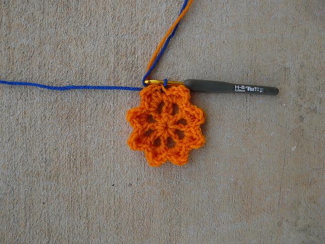 Orange center for a crochet square