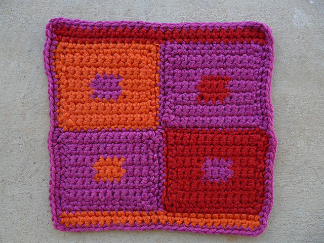 crochetbug, crochet squares, crocheted, crocheting, crochet pet mat, crochet blocks, josef albers