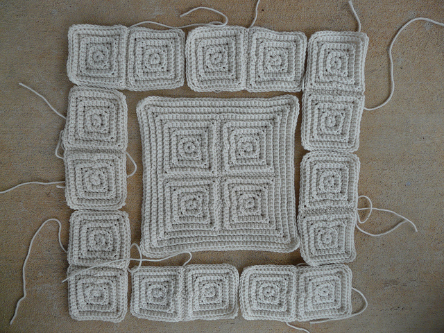 Joining textured crochet squares