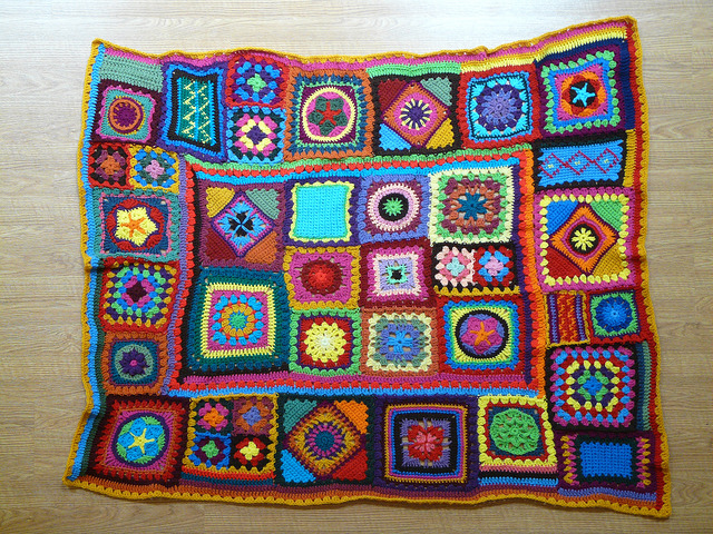 crochet granny square beach blanket
