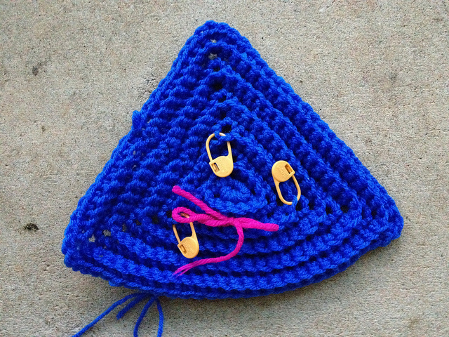 textured crochet triangle