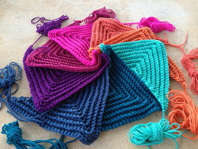 textured crochet triangles