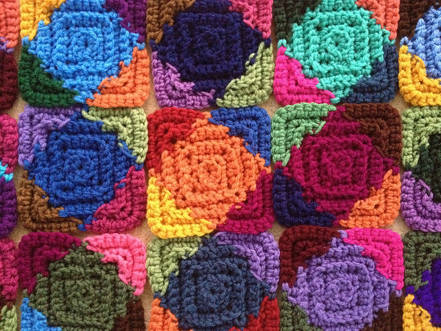 textured crochet squares detail