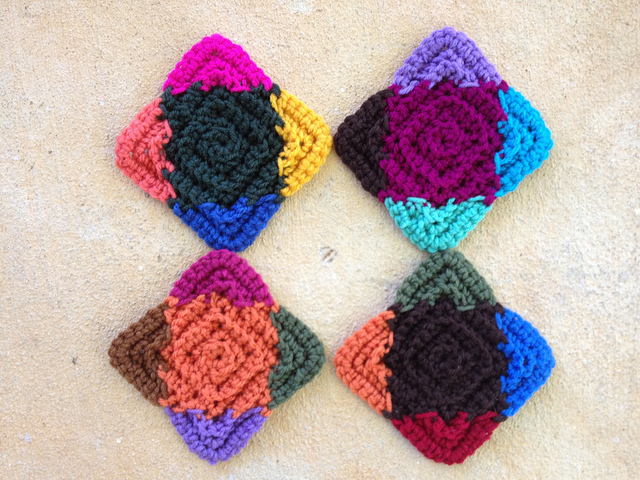 four textured crochet squares