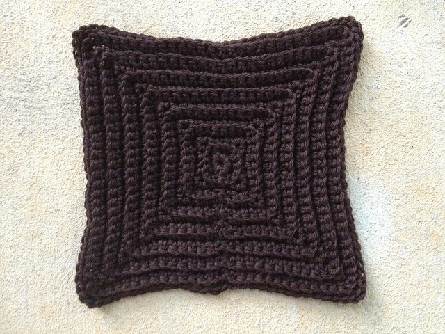 large brown textured crochet square